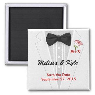 Tuxedo Monogram with Rose Square Magnet