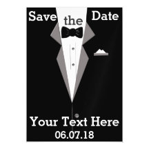 Tuxedo Personalise Save the Date Magnetic Card Magnetic Invitations