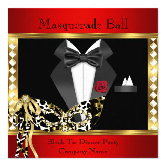 Tuxedo Red Gold Black Tie Masquerade Ball 13 Cm X 13 Cm Square Invitation Card