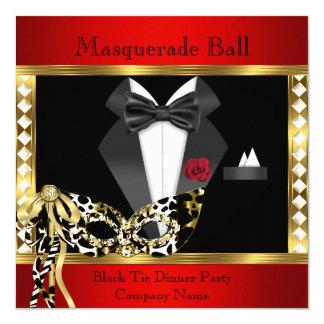 Tuxedo Red Gold Black Tie Masquerade Ball 13 Cm X 13 Cm Square Invitation Card