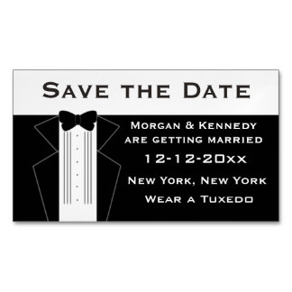 Tuxedo Save The Date Magnetic Cards Magnetic Business Cards