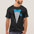 Tuxedo style shirt Blue Bowtie & Blue Flower