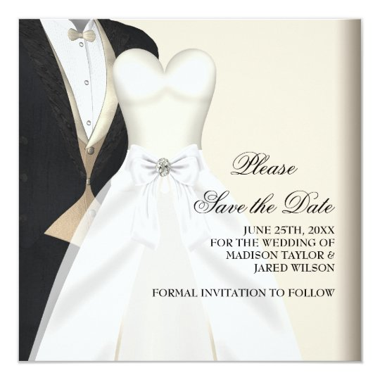 Tuxedo Wedding Dress Black White Save The Date Card