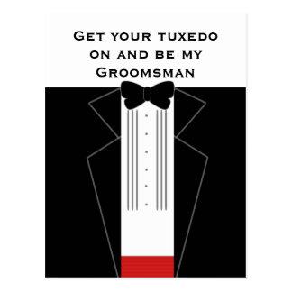 Tuxedo Wedding Groomsman Request Postcard