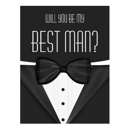 Tuxedo Will You Be My Best Man Wedding Postcard Post Cards