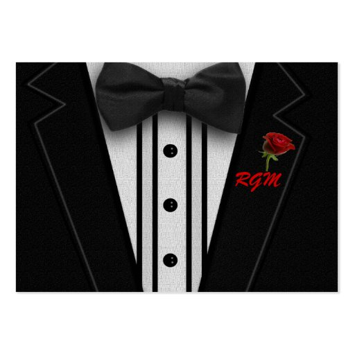 Tuxedo with Bow Tie Monogram Business Card