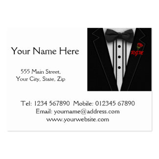 Tuxedo with Bow Tie Monogram Large Business Cards (Pack Of 100)
