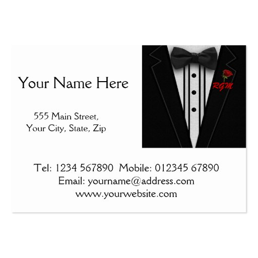 Tuxedo with Bow Tie Monogram Business Card Template