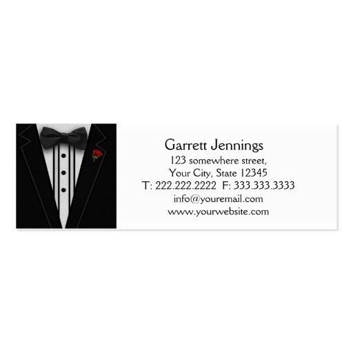Tuxedo with Bow Tie Monogram Business Card Templates