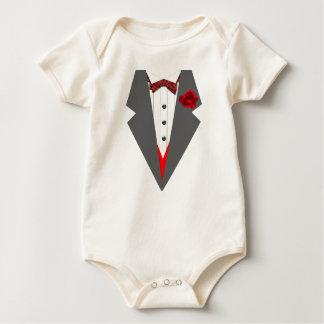 Tuxedo With Grey Lapels Tartan Red Dickiebow Baby Bodysuit