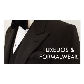 Tuxedos and formal wear business card