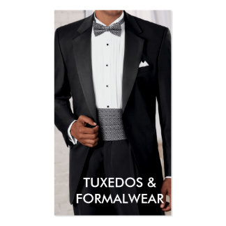 Tuxedos and formal wear business card pack of standard business cards