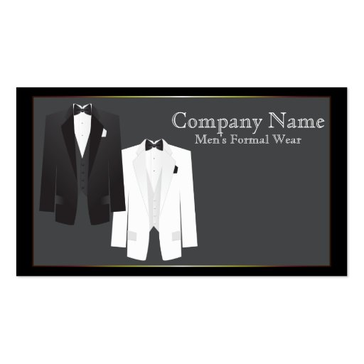 Tuxedos Men's Formal Wear Business Card Business Card