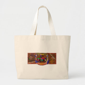 TV News Ad Painted on Barn Canvas Bags