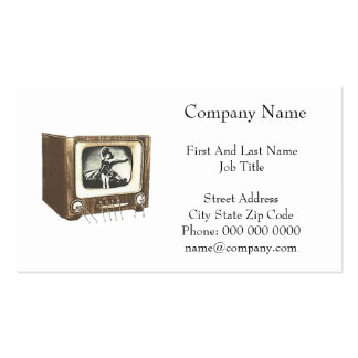 TV Television Set Retro Vintage Drawing Business Cards