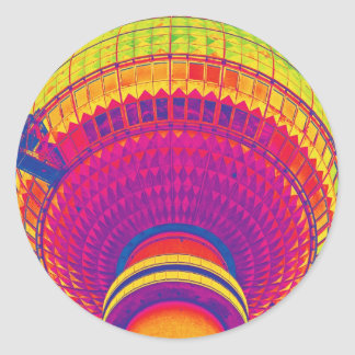 Tv Tower (Fernsehturm), Berlin, Rainbow Colour (tv Round Sticker