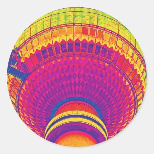 Tv Tower (Fernsehturm), Berlin, Rainbow Colour (tv Round Stickers