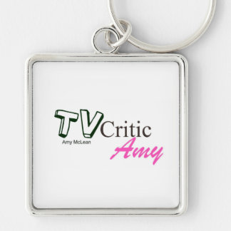 TVCriticAmy logo keyring Silver-Colored Square Key Ring