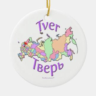 Tver Russia Map Ornament