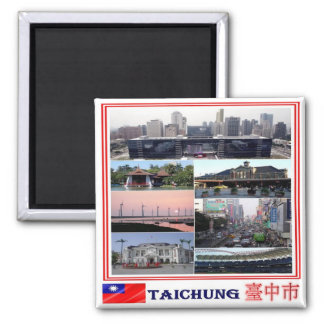 TW - Taiwan Formosa - Taichung - Collage Mosaic Square Magnet