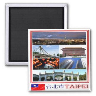 TW - Taiwan Formosa - Taipei - Collage Mosaic Square Magnet