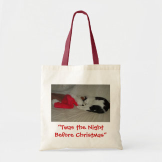 Twas the Night before Christmas Kitten Canvas Bags