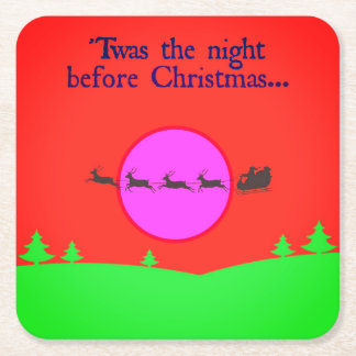 Twas The Night Before Christmas Square Paper Coaster
