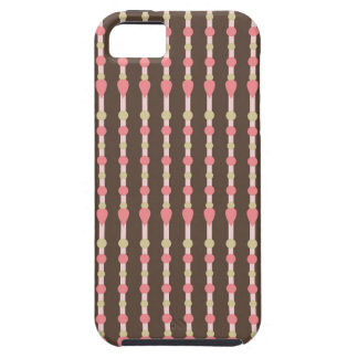 Tweed herringbone brown & pink pattern iPhone case