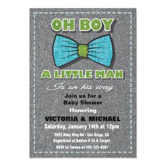 Tweed Little Man Baby Shower Invitations