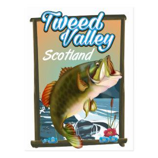 Tweed Valley Scottish fishing poster. Postcard