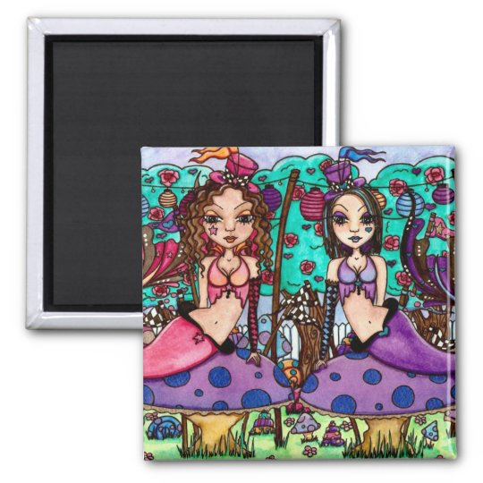 Tweedle Dee and Tweedle Dum by Maigan Lynn Square Magnet