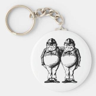 Tweedle Dee and Tweedle Dum Inked Basic Round Button Key Ring