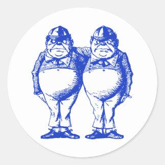 Tweedle Dee and Tweedle Dum Inked Blue Round Stickers