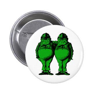 Tweedle Dee and Tweedle Dum Inked Green Fill 6 Cm Round Badge