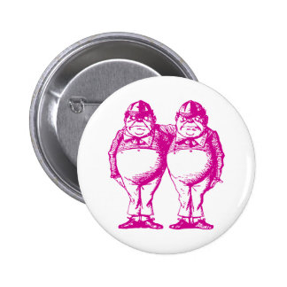 Tweedle Dee and Tweedle Dum Inked Pink 6 Cm Round Badge