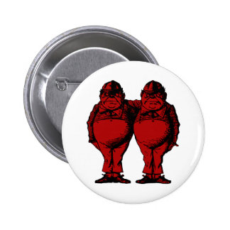 Tweedle Dee and Tweedle Dum Inked Red Fill 6 Cm Round Badge