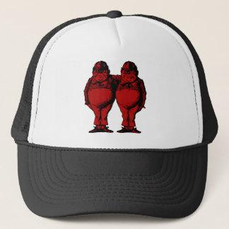 Tweedle Dee and Tweedle Dum Inked Red Fill Trucker Hat
