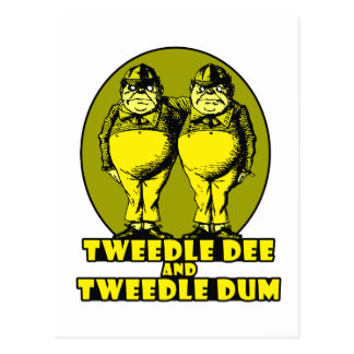 Tweedle Dee and Tweedle Dum Logo Yellow Post Card
