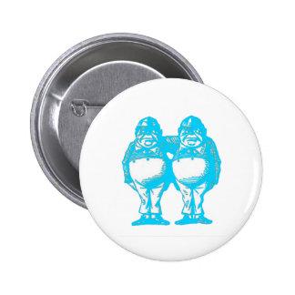 Tweedle Dee & Tweedle Dum in Blue 6 Cm Round Badge