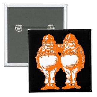 Tweedle Dee & Tweedle Dum in Orange Red 15 Cm Square Badge