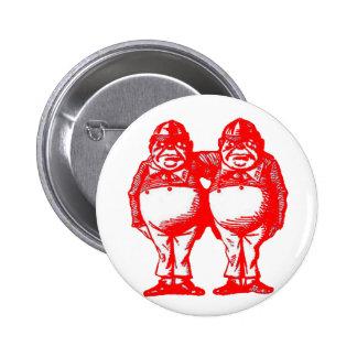 Tweedle Dee & Tweedle Dum in Orange Red 6 Cm Round Badge