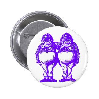 Tweedle Dee & Tweedle Dum in Purple Pink 6 Cm Round Badge