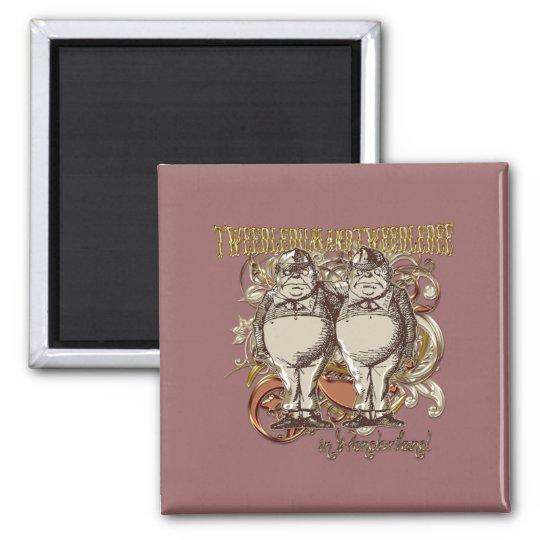 Tweedledum & Tweedledee Carnivale Style Gold Ver. Square Magnet