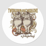 Tweedledum & Tweedledee Carnivale Style Gold Ver. Round Stickers