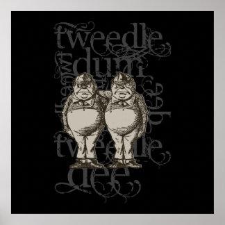 Tweedledum Tweedledee Grunge Single Figure Poster