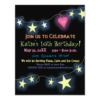 Tween Birthday Girl Colorful Party Invitation