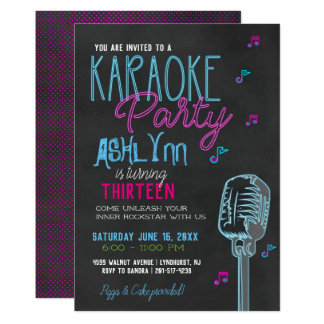 Tween/Teen Karaoke Birthday Party Card