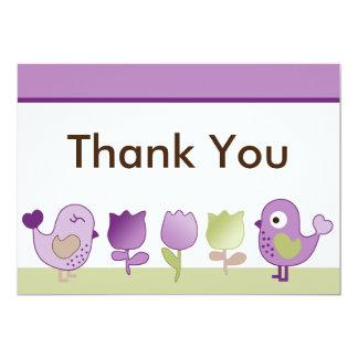 "Tweet/Birdies & Tulips Thank You Card 5"" X 7"" Invitation Card"