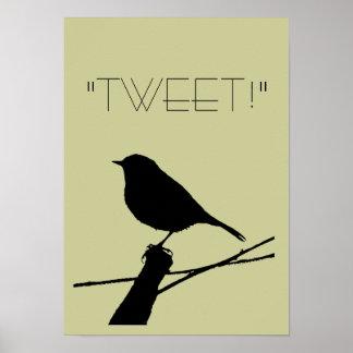 Tweet Black Bird (Robin) Silhouette Poster