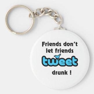 Tweet drunk basic round button key ring